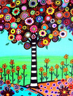 Mexican FOLK ART Tree of Life Happy Painting Flowers.Visit EBAY, search for PRISARTS for new and original paintings for sale