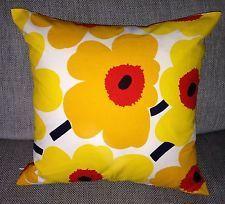 "Handmade Pillow case made from Marimekko Unikko fabric, 18""  yellow Finland"