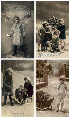Sheet kerstkinderen | Sheets postkaarten KERST | Nostalgie & Brocante