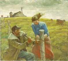 """Fixing Fence"" by Harvey Dunn"
