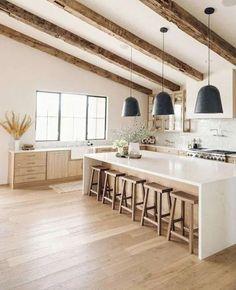 Interior Design Minimalist, Modern Kitchen Design, Interior Design Kitchen, Modern Rustic Kitchens, Kitchen Designs, Modern Farmhouse Interiors, Modern Rustic Homes, Modern Rustic Decor, Home Interiors
