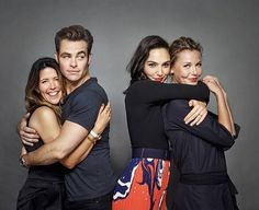 Chris Pine with director Patty Jenkins and Gal Gadot with Lynda Carter.