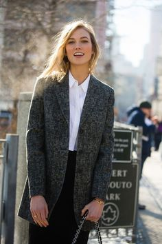 better have another look at that. Karlie keeping it classic #offduty in NYC. #KarlieKloss