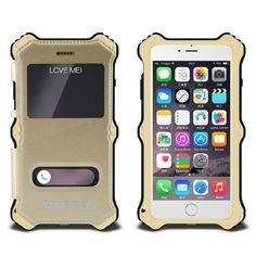 [$24.89] LOVE MEI MK2 2 in 1 Qi Standard Wireless Charger Aluminum Cover + Removable Leather Case with Call Display ID for iPhone 6(Gold)
