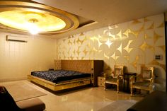 Arc-Gold Wall created on glass used for bedback at a Residential Project in Delhi.