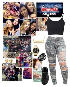 """"""" Shella  Wrestlemania Axxess"""" by queenofwrestling ❤ liked on Polyvore featuring Brooks, Michael Kors, Topshop, Eddie Borgo, Casetify, NIKE, WWE, wrestlemania, wrestlemaniaaxxess and wrestlemania2016"""