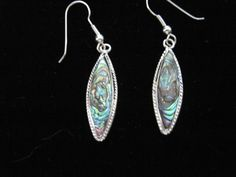 AbaloneShell Silver Plated Blue-Green Tear Drop Design Earrings  #Unbranded