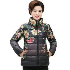 2f8ee8a4ef0 4 Colors Plus Size Fashion Women Flower Print Slim Stand Collar Cotton  Jacket Causal Women Parka Coats XL-XXXXXL female jacket