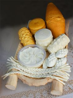 "Polish Cheeses ~~ Oscypek - the most famous Polish cheese. It is a smoked cheese made from the salted sheep milk (don't buy imitations made from cow's milk) and formed in traditional wooden forms. Oscypek is an absolute ""must taste"" when you visiting Polish mountains. Very tasty when served with red wine or smoked fish"