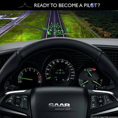 """""""Ready To Become A Pilot?"""" The All-New Saab 9-5 Digital Print Advertisement saabusa.com"""
