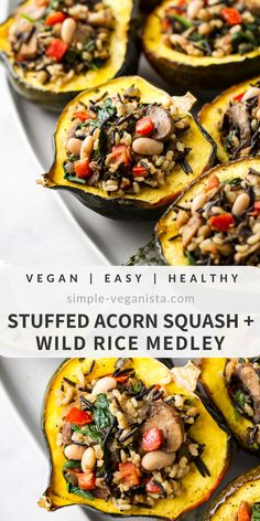 Stuffed Acorn Squash + Wild Rice Medley – The Simple Veganista Stuffed Acorn Squash with Wild Rice Medley is a fun and festive vegan fall recipe featuring tender roasted squash, wild rice, mushrooms, spinach and thyme! Healthy Recipes, Vegetable Recipes, Whole Food Recipes, Cooking Recipes, Fall Vegetarian Recipes, Wild Rice Recipes, Recipes Dinner, Vegan Thanksgiving, Thanksgiving Sides