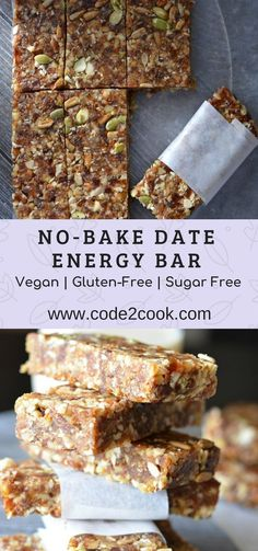 Recipes Snacks Vegan These no-bake date energy bar are loaded with natural ingredients like dates, walnut, almonds, and nuts like pumpkin seeds and sunflower seeds. Being no-bake, they require very less time to prepare…More Healthy Bars, Healthy Vegan Snacks, Healthy Baking, Healthy Desserts, Healthy Drinks, Healthy Recipes, Date Recipes Vegan, Vegan Gluten Free Breakfast, Healthy No Bake