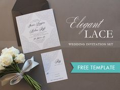 Free Elegant Lace Printable Wedding Invitation photo | The Budget Savvy Bride. Simply print, add your text, and trim. It couldn't be easier.