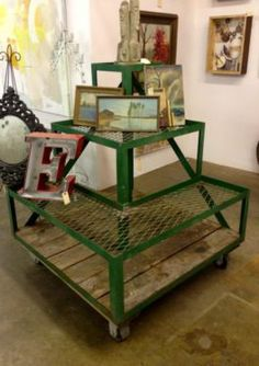 "Green Industrial Three Tiered Rolling Stand  Great for plants or next to sofa.  39"" Square x 46"" High   $595  Paul Ashby at Lucas Street Ant..."