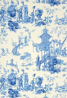 Wallcovering Wallpaper Chinois In China Blue Schumacher And White Fabric
