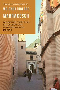 Entdecke mit meinen Tipps die geheimnisvolle Medina #altstadt von #Marrakesch #Marokko: Souks, Djema el-Fna, #Reisetipps #heritage #reiseziele #reisen #sehenswürdigkeiten Austrian Airlines, Riad, Outdoor Decor, Home Decor, Atrium House, Marrakech Morocco, Moldova, Heritage Site, Mosque