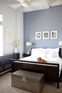 The Best Paint Colors from Sherwin Williams: A little bit of lavender in your blue makes for a subtly feminine look, like in this crisp yet soft bedroom. Try Aleutian for this look.