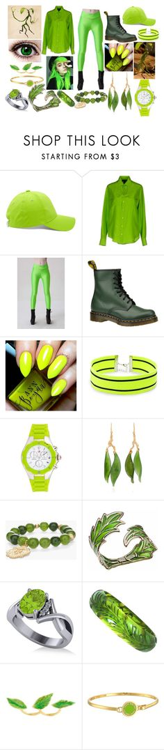 """""""Bowtruckle Green"""" by shadow-948 ❤ liked on Polyvore featuring Forever 21, Ralph Lauren Black Label, WithChic, Dr. Martens, Michele, Lucifer Vir Honestus, Chico's, Bernard Delettrez, Allurez and Marc Jacobs"""
