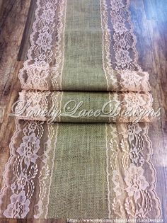 WEDDING DECOR /Burlap Lace Table Runner with Peach Lace,5ft-10ft x 13in Wide,Vintage, Peach Wedding Decor, Peach Weddings by LovelyLaceDesigns on Etsy