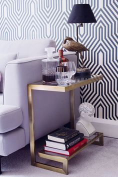 The brass and glass Huxley side table styled 3 different ways Side Table Styling, Side Table Decor, Glass Side Tables, Interior Decorating Styles, Home Decor Trends, Interior Design Boards, Furniture Design, Plywood Furniture, Chair Design