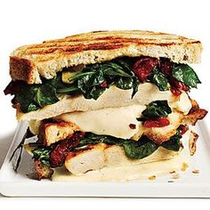 Rosemary-Chicken Panini with Spinach and Sun-Dried Tomatoes, #Panini, #Spinach, #Tomatoes