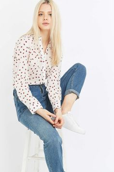 Urban Outfitters Ladybug Print Button-Down Shirt