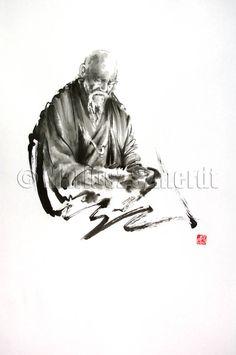 "MORIHEI UESHIBA original Japanese ink painting rice paper AIKIDO 25""x14,5"" on Etsy, $238.12 AUD"