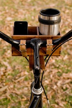 Hardwood Bike Basket by AvieArts on Etsy - perfect! One slot for my water bottle, one slot for my phone, because camera and maps!