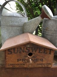 Bird house made from an old crate