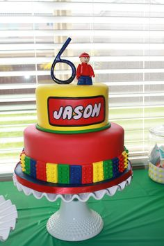 Very cool LEGO cake for a little boy's bday party