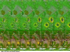 Stereogram by 3Dimka: Adopt the Bunny. Tags: bunny, rabbit, dog, doghouse, tree, flowers, duck, sunflower, hidden 3D picture (SIRDS)