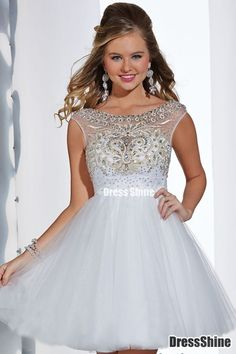 Enchanted Dress Scoop Off The Shoulder Low Back A Line Tulle White - HomeComing Dresses - Homecoming | Cocktail | Party