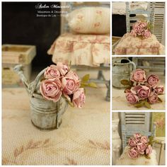 Miniature bunch of six romantic roses PINK by AtelierMiniature