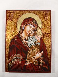 Hand Painted on wood Orthodox Icon -- Holy Mother Mary & Jesus (Theotokos)