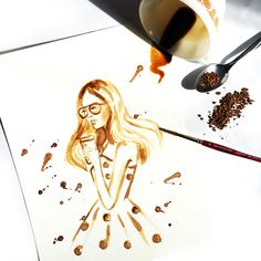 Coffee meets fashion design. This artist found a unique way to put a twist to their usual fashion design drawings to create a memento of morning coffee inspirations. #coffee #art #fashiondesign