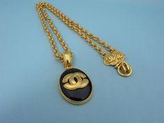 Auth Vintage Chanel Gold Tone CC Logo Black Pendant Chain Necklace Classic 96A   eBay