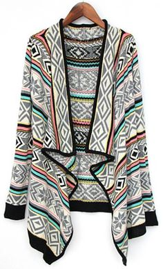 Grey Draped Collar Tribal Pattern Cardigan : Love it