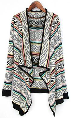 Grey Draped Collar Tribal Pattern Cardigan : Love it