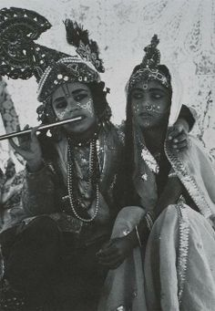 Shiva and Parvati—a boy with a girl dressed up as the great God and Goddess of Hindu faith.