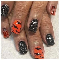 Disney Halloween Nails, Halloween Nail Colors, Holloween Nails, Halloween Nail Designs, Fall Halloween, Halloween Ideas, Halloween Costumes, Fall Gel Nails, Gel Acrylic Nails
