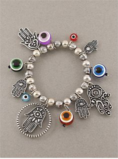Silver Hamsa & Evil Eye Charm Bracelet from P.S. I Love You More Boutique