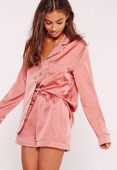 Pink Piping Detail Short Pajama Set - Pajama Sets - Ideas of Pajama Sets - This silky set will keep you looking fierce even in your sleep! Pajamas For Teens, Cute Pajamas, Pajamas Women, Button Up Pajamas, Satin Pyjama Set, Satin Pajamas, Pajama Set, Pink Silk Pajamas, Pyjamas