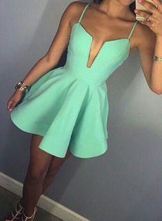 Cute Green Spaghetti Strap Party Dress Women homecoming dress Short Prom Dresses