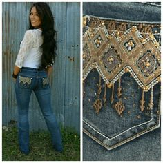 Cadence Denim Jeans Denim full length relaxed boot cut style jeans with front and back pocket embellishments. Majestii Jeans Boot Cut