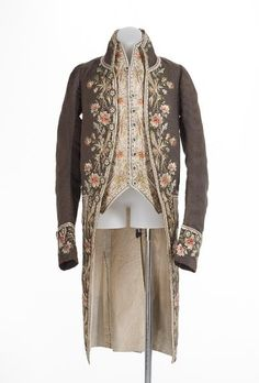 Coat and waistcoat, c.1775, FRANCE Medium: silk, linen, wool, metal, (c) NGVA