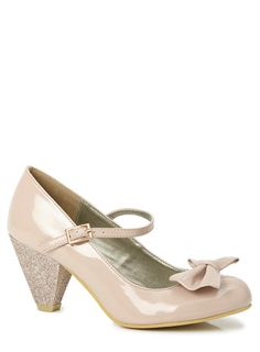 Oyster Bow Trim Glitter Heel Shoes. BHS.