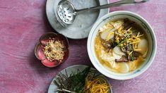 Korean beef and rice stick soup (dok guk) recipe : SBS Food Korean Soup Recipes, Beef Recipes, Korean Beef, Korean Food, Sbs Food, Beef And Rice, Easy Cooking, Weeknight Meals, Eat
