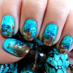 Turquoise Nail Art. Used the salt technique to create the effect.  Used a white based coat, then Liquitex acrylic paint in Turquoise Deep, Bright Aqua Green, and Iridescent Rich Bronze. #nailart