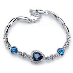 Titanic Blue Heart & Crystal Bracelet Silver Plated Link Tennis Heart of Ocean #Unbranded #Tennis