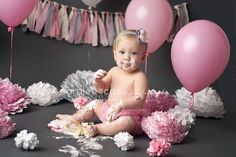Pink and Gray Cake Smash.  First Birthday Pictures.  Caralee Case Photography.  Baby and Child Photographer.  #cakesmash #birthday #caraleecasephotography
